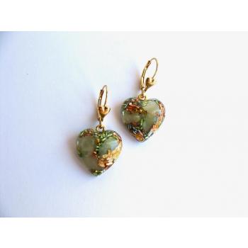 Boucles d'oreilles orgonite coeur jade