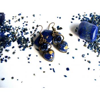 Boucles d'oreilles rétrocoeur lapis lazuli