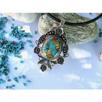 Pendentif orgonite baroque turquoise argenté