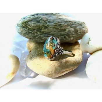 Bague orgonite turquoise en argent 925 ciselé