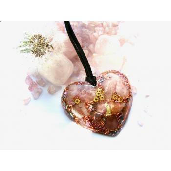 Pendentif orgonite galet coeur quartz rose