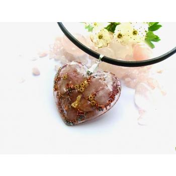 Pendentif galet coeur quartz rose cuir argenté