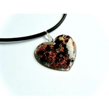 Pendentif orgonite galet coeur shungite cuir argenté