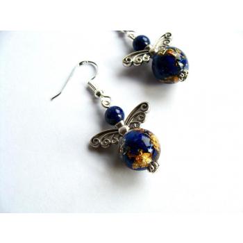 Boucles d'oreilles Orgonite sphère lapis lazuli ange