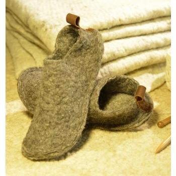 Chaussons en laine feutrée mixte avec languette en cuir