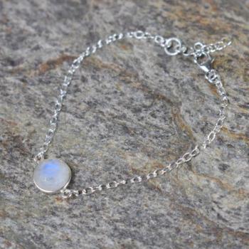 Bracelet Pierre de Lune sur chaîne argent