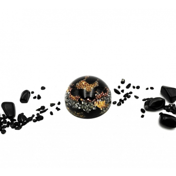 Demi sphère orgonite tourmaline noire petite