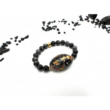 Bracelet Orgonite ovale OBSIDIENNE Flocon de neige