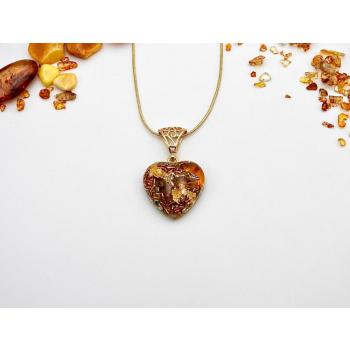Pendentif orgonite coeur ambre new