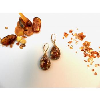 Boucles d'oreilles orgonite gouttes ambre new plaqué or