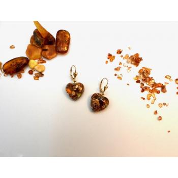 Boucles d'oreilles orgonite coeur ambre