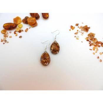 Boucles d'oreilles orgonite goutte ambre new argent