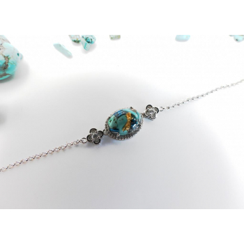 Bracelet orgonite chaîne turquoise en argent