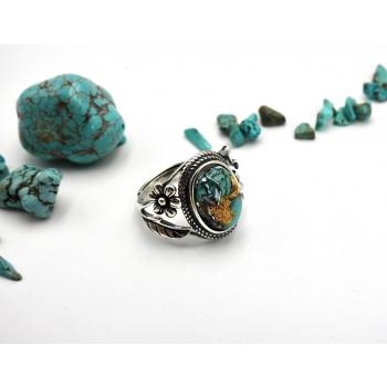 Bague orgonite ovale turquoise fleur en argent