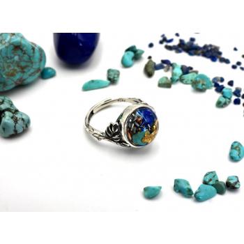 Bague orgonite ronde lapis lazuli et turquoise feuille