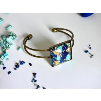 Bracelet orgonite carré lapis turquoise bronze