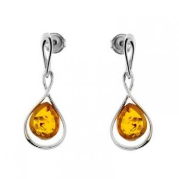 Boucles d'oreilles en ambre cognac sur argent rhodié 925
