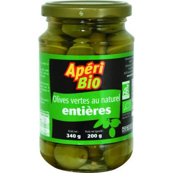 Olives vertes natures entières 340g (poids net égoutté 200g)  Apéri bio