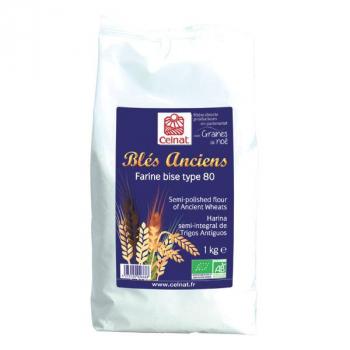 Farine de blés anciens bise t80 1kg  CELNAT