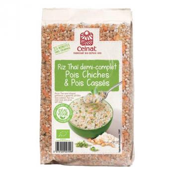 Mélange riz thaï demi-complet pois chiches&pois cassés 500g  CELNAT