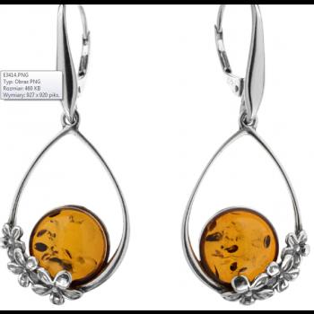 Boucles d'oreilles  cognac en ambre  de la Baltique sur argent 925 rhodié
