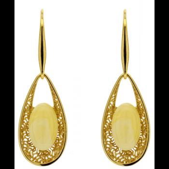 Boucles d'oreilles en ambre blanc de la Baltique sur vermeil.