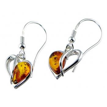 Boucles d'oreilles cœur en ambre de la Baltique sur argent 925