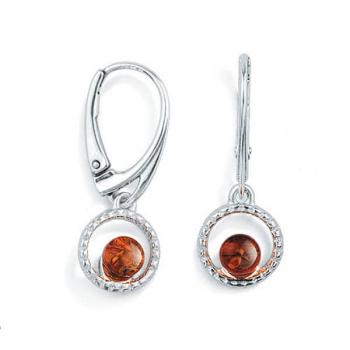 Boucles d'oreilles ambre cognac et argent 925/1000.