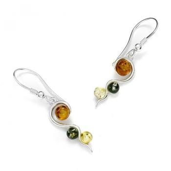 Boucles d'oreilles en ambre multicolore de la Baltique sur argent 925 rhodié.