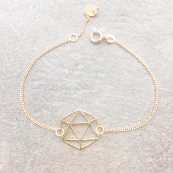 Bracelet Icosaèdre chaîne plaqué or