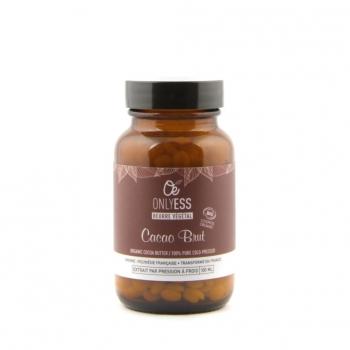 Beurre de cacao BRUT, BIO et ESR de Polynésie française (en pastilles) - Flacon verre 100 ml