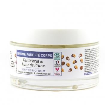Baume fouetté BIO façon Chantilly à l'huile de Prune et au Karité BRUT - Pot verre 200 ml