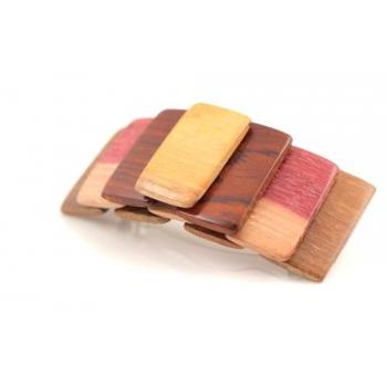Barrette en bois précieux Amarante, Palissandre, Mûrier