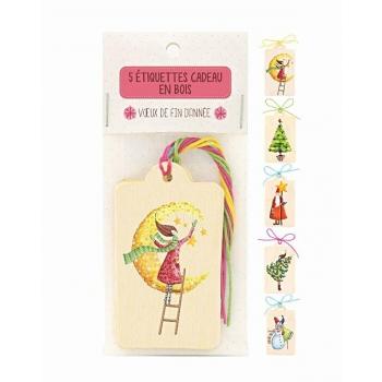 Etiquettes cadeau en bois Fête de Noël