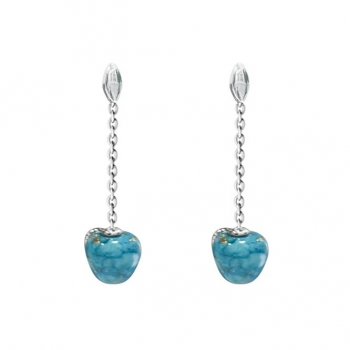 Boucles d'oreilles en Argent 925 pomme turquoise