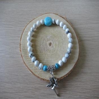 Bracelet en Howlite blanche et turquoise