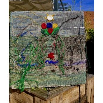 Tapisserie, tableau en fibres végétales et recyclées