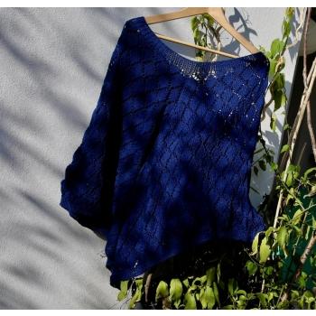 Poncho coton bleu