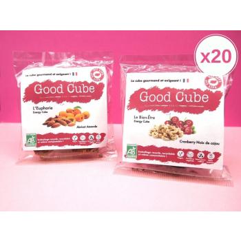 20 sachets de biscuits - gamme fit-life : abricots-amandes et cranberries-noix de cajou 20x 35g