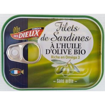 Filets de sardine sans arête à l'huile d'olive bio, 100 g