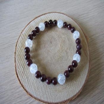Bracelet en cristal de roche et grenat