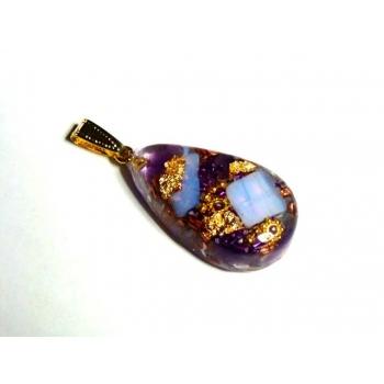 Goutte orgonite pendentif opale améthyste dorée