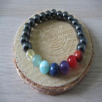 Bracelet en Hématite 7 chakras n2