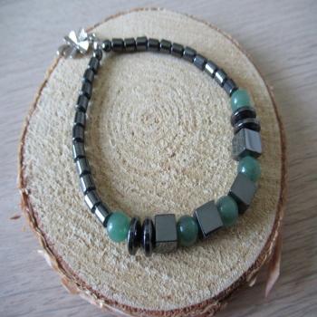 Bracelet en Hématite et pierre d'Aventurine