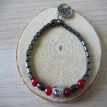 Bracelet en Hématite et perles rouges