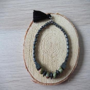 Bracelet en hématite et pierre d'unakite
