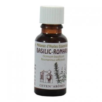 Mélange d'huiles essentielles basilic & romarin - Energie Vitale - 20 ml - Céven'Arômes.