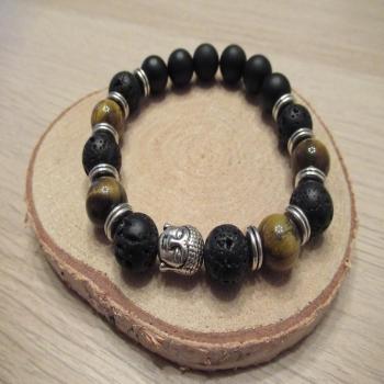 bracelet homme oeil du tigre lave onyx