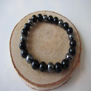 Bracelet obsidienne noire hématite 8mm