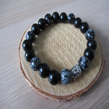 Bracelet homme onyx obsidienne neige